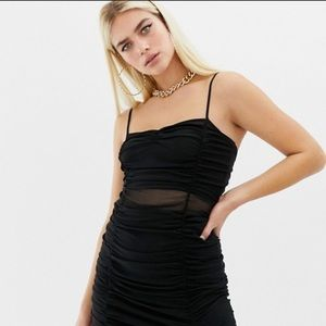 COLLUSION ruched mesh cami dress